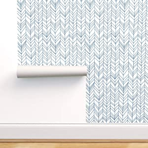 Spoonflower Pre-Pasted Removable Wallpaper, Herringbone Chevron Blue Print, Water-Activated Wallpaper, 24in x 108in Roll