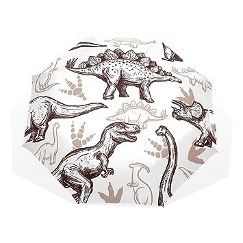 EZIOLY Dibujo Dinosaurios Huellas de Viaje Paraguas Ligero Anti UV Sol Lluvia Paraguas para Hombres Mujeres