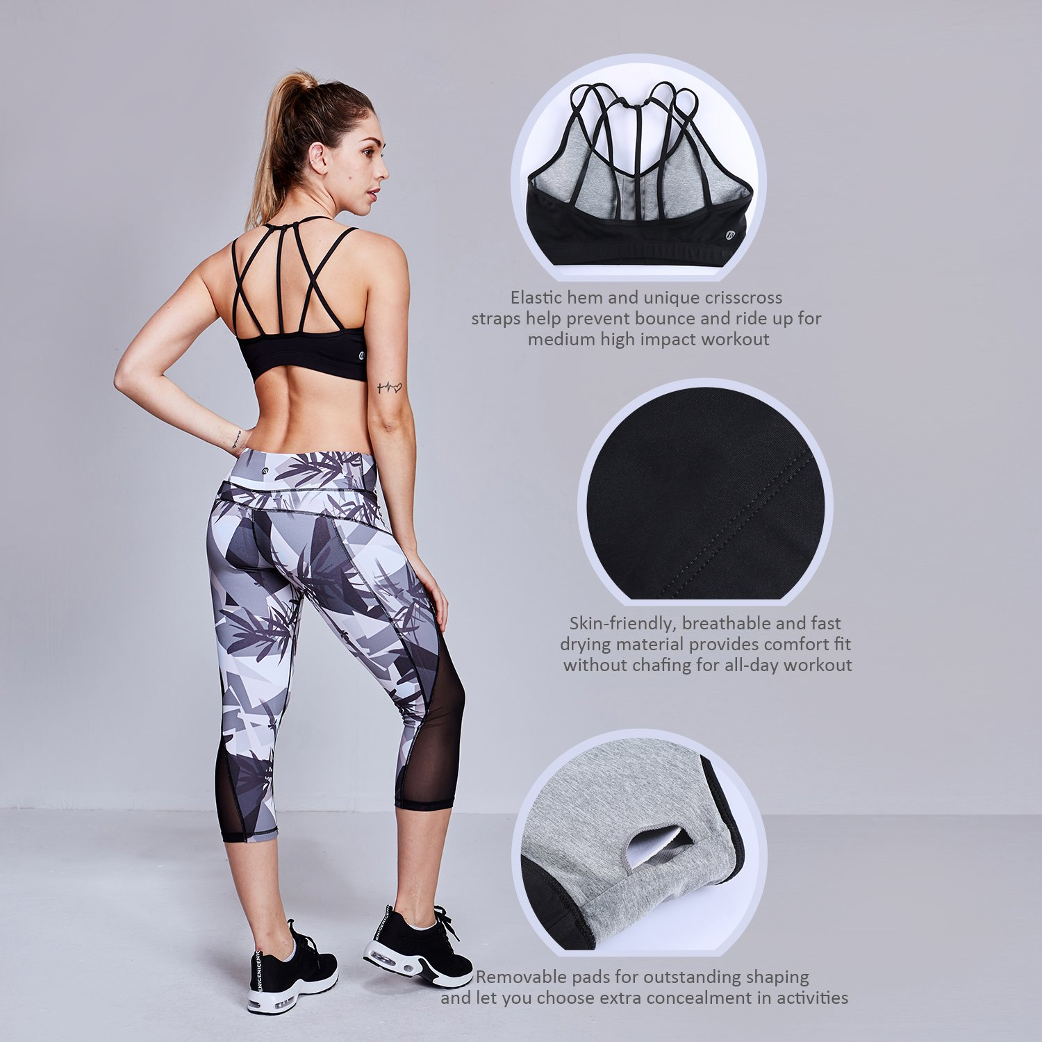 Matymats Active Strappy Sports Bra Medium Impact Workout Running Yoga Bra Tops with Removable Pads