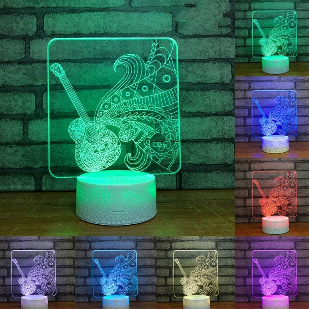 Luz de noche de ilusión 3D Guitarra Arpa Música Decoración Gif ...