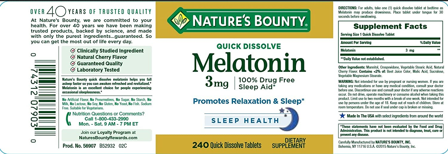 Amazon.com: Natures Bounty Melatonin 3 mg: Health & Personal Care
