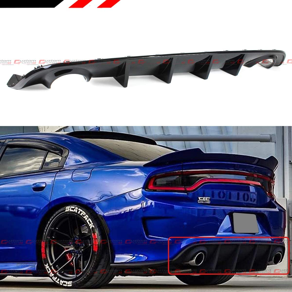 For 2015-2020 Dodge Charger SRT Hellcat Scat Pack Shark Fin Rear Bumper Diffuser Painted Glossy Black Finish