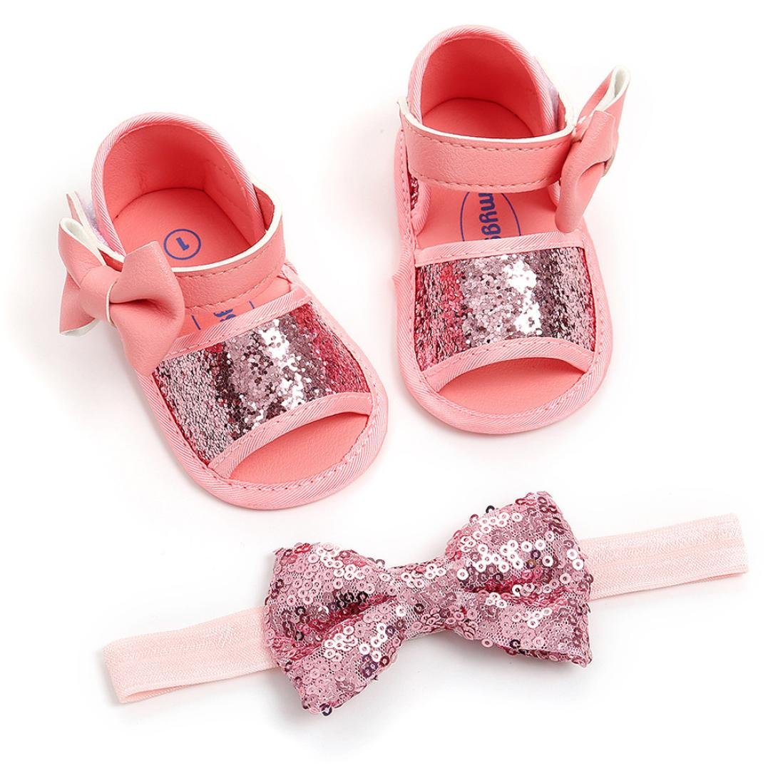 Lanhui Girl Sequins Bowknot Fashion Toddler First Walkers Kid Shoes+Hairband