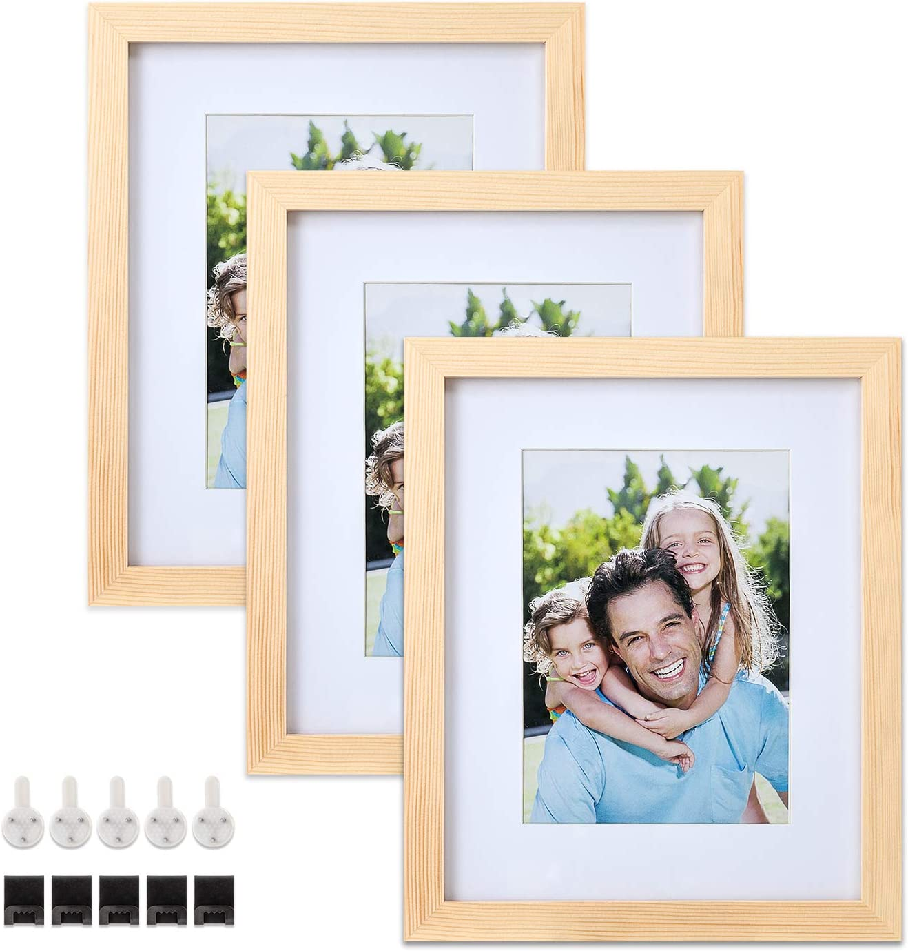 3 Pack Mounting Hardware Included for Wall or Tabletop Display Natural Wood Color Photo Frame Set with Mat and Glass Cover Sindcom 8x10 Solid Wood Picture Frames