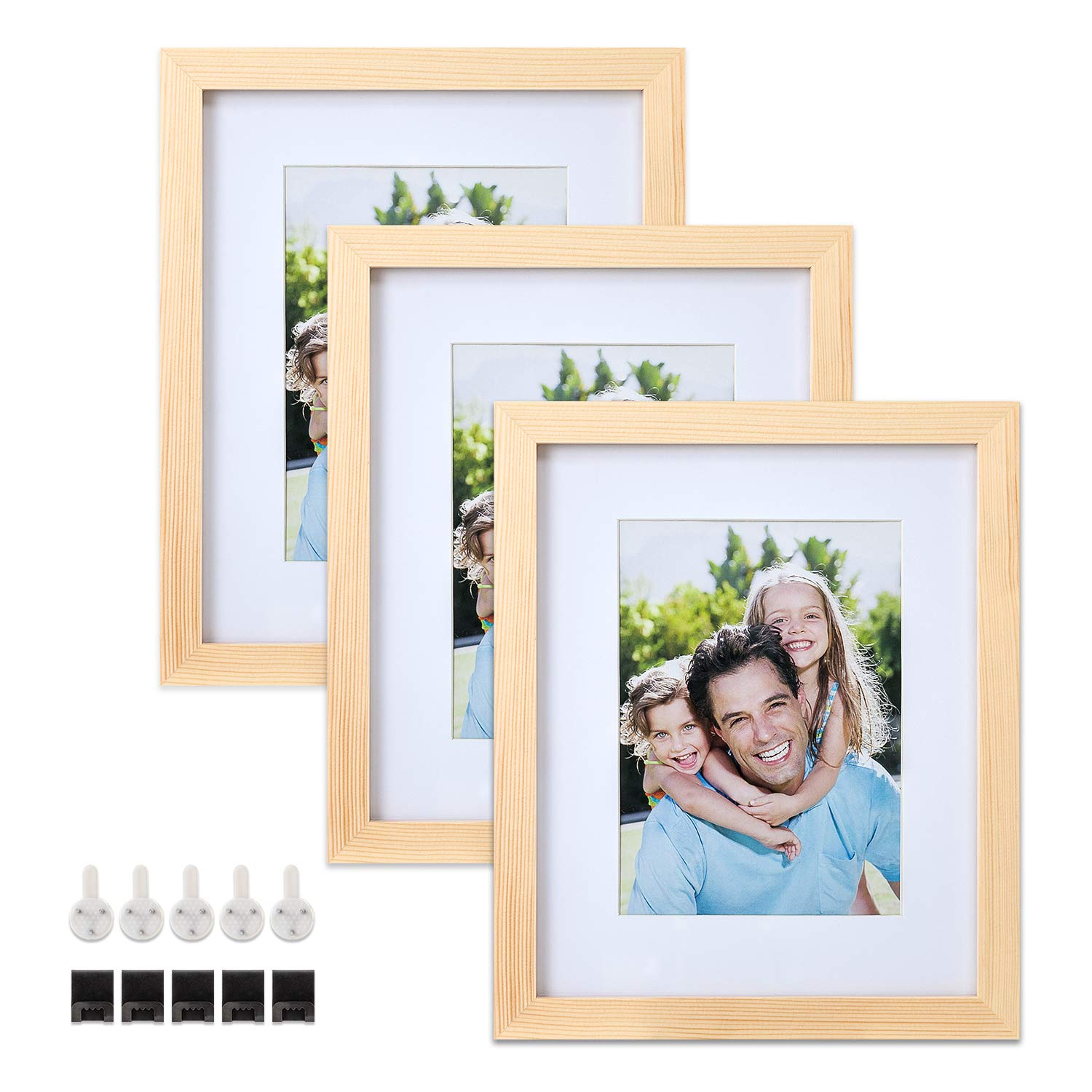 Sindcom 8x10 Solid Wood Picture Frames, 3 Pack, Photo Frame Set with Mat and Glass Cover, Natural Wood Color, Mounting Hardware Included, for Wall or Tabletop Display by Sindcom