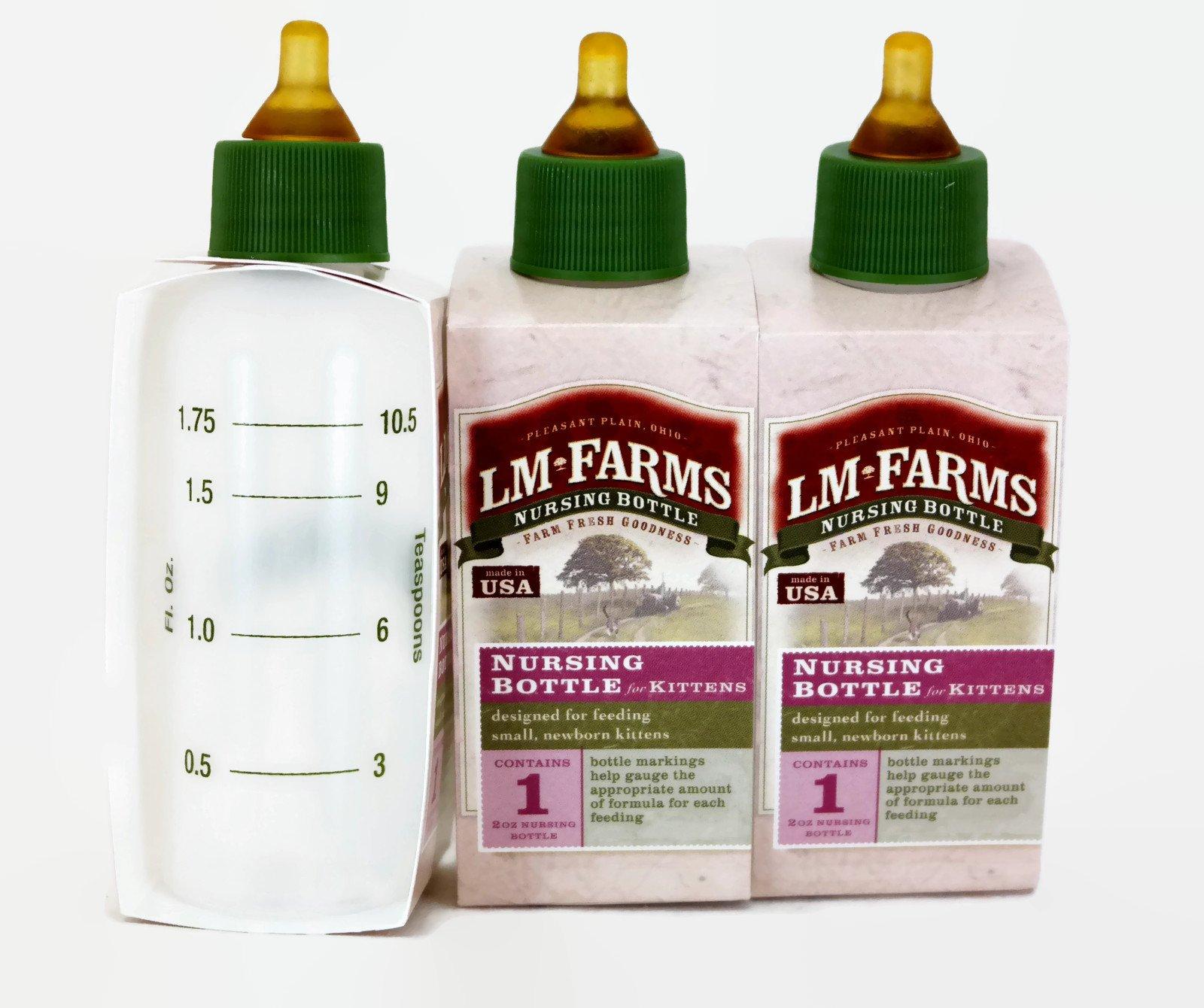 LM Farms Nursing Bottle for Newborn Kittens 2 Ounce (3 Bottles)