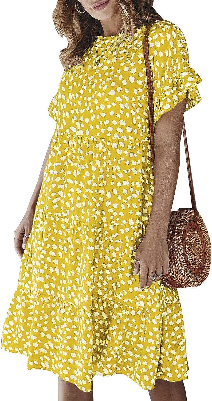 Simplee Women's Polka Dot Flowy Tunic Loose Casual Mini Dress