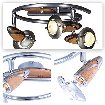 Deckenstrahler 3 Flammig Decken Spot Deckenlampe Bewegliche Spots Strahler Flur Lampe Stahl Und Holz Deckenleuchte