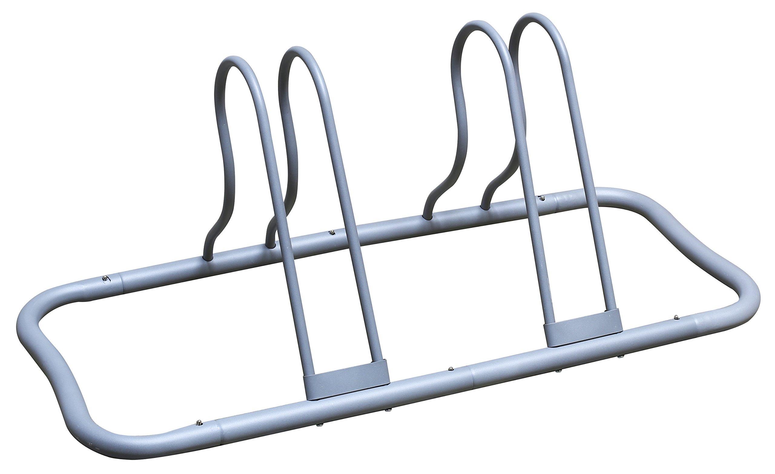 DecoBros 5 Bike Bicycle Floor Parking Adjustable Rack Storage Stand, Silver by Deco Brothers