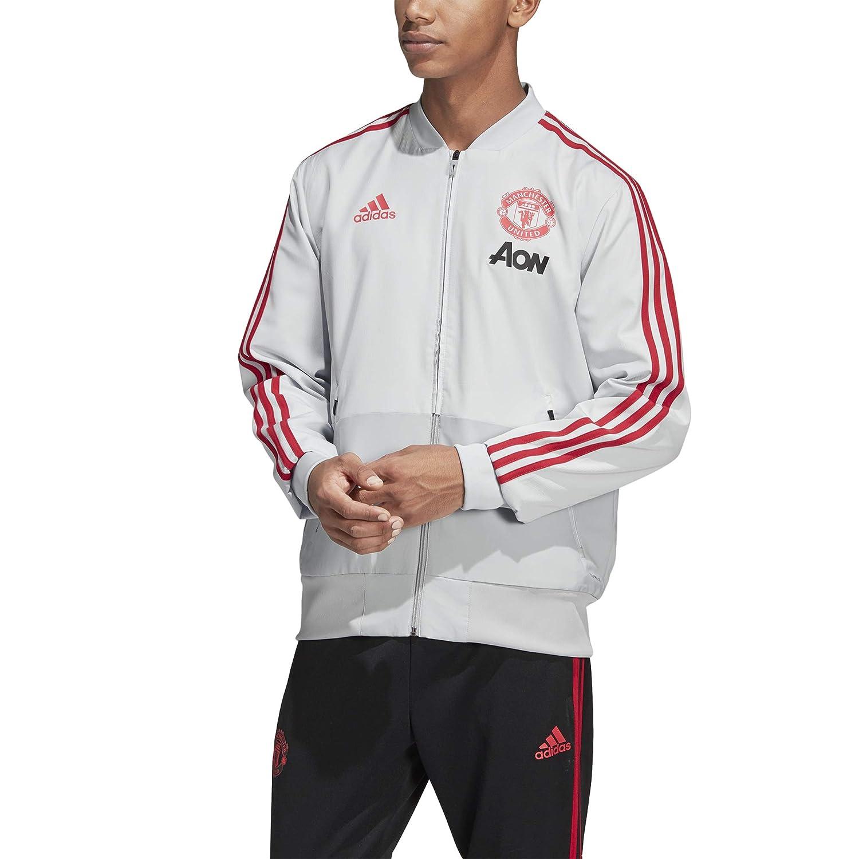 Adidas MUFC Pre Jkt, Felpa Uomo, Clear grigio Blaze Red, XS