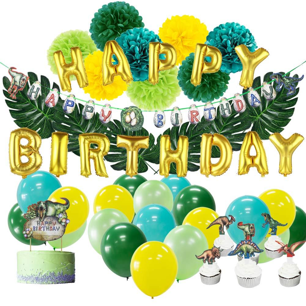 SUNBEAUTY Dinosaur Birthday Party Decoration Dinosaure Anniversaire Enfant Happy Birthday Ballon Deco Tropical Fete Vert Jaune avec Dinosaure Cake Topper