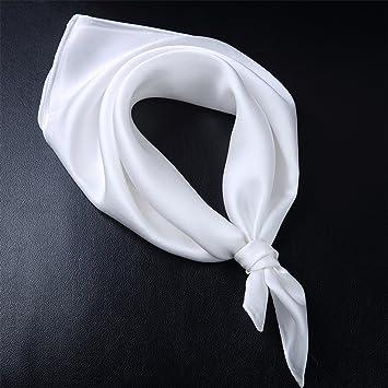 LIAN Foulard en Soie Petit Carré Couleur Unie Femme écharpe en Satin Cravat ,White 0d969307a32