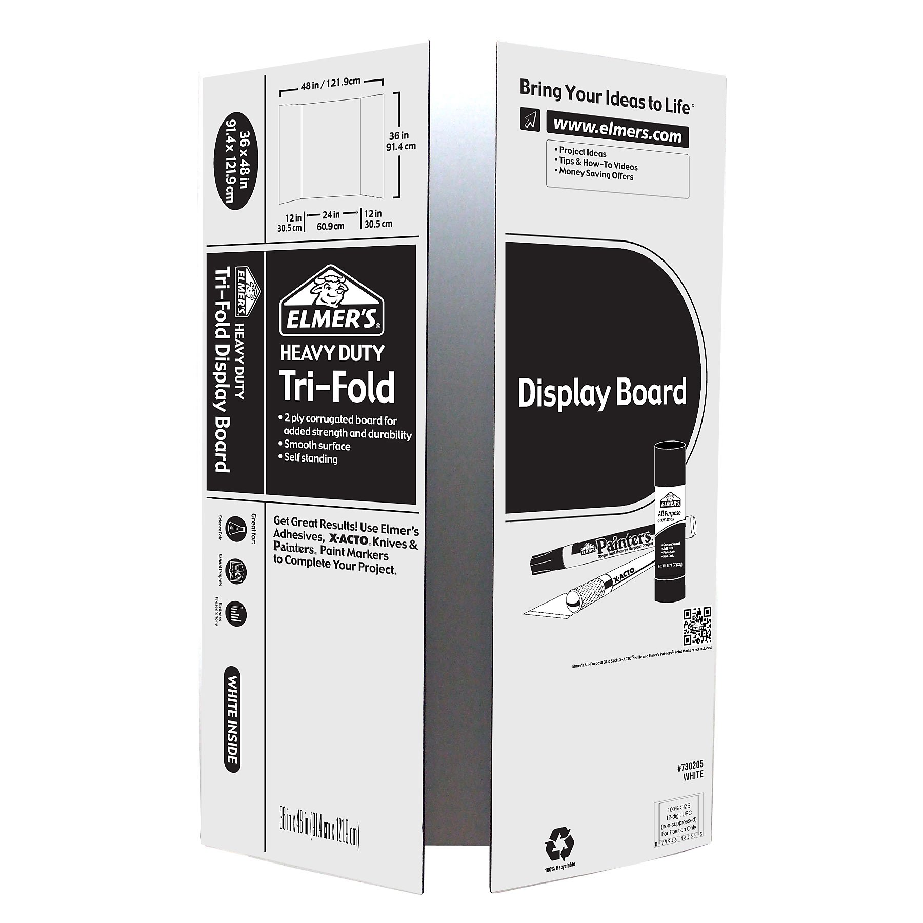 Elmer's Heavy Duty Tri-Fold Display Board, White, 36x48 Inch (Pack of 12)