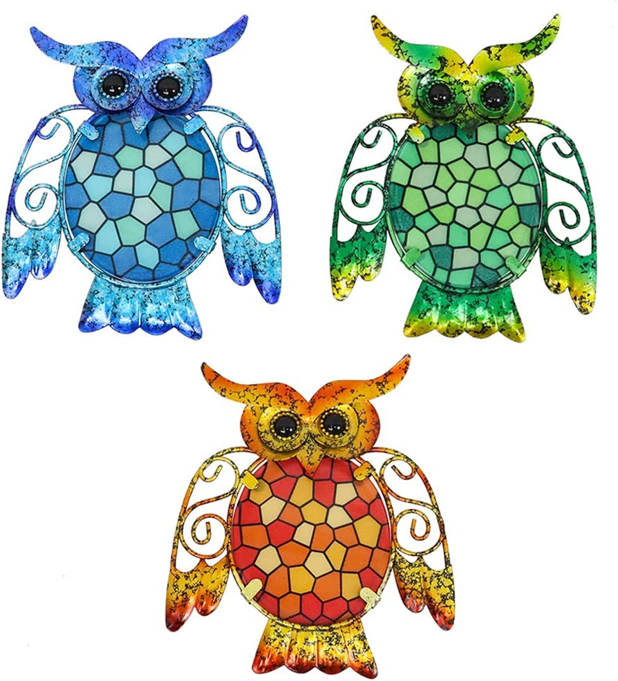 HONGLAND Metal Owl Wall Decor Blue Orange Green Mosaic Glass Art Sculpture Outdoor Hanging Decorations Set of 3 for Home Garden Bedroom