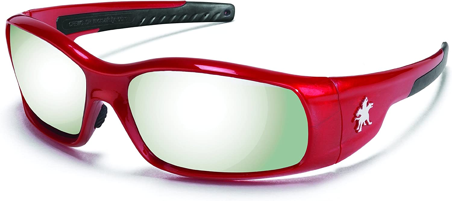 Crews SR137 Swagger Brash Look Polycarbonate Dual Lens Glasses with Crimson Red Frame and Silver Mirror Lens
