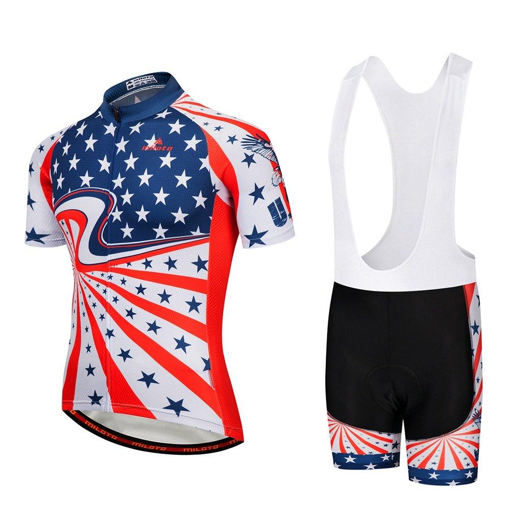 Uriahメンズ自転車ジャージーホワイトBib Shortsセット半袖通気性 B07BKNT64M Chest 38.5''=Tag M|Star River Star River Chest 38.5''=Tag M