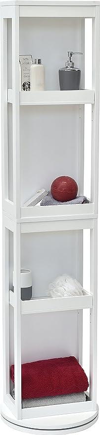 Mueble columna de sala de baño giratorio - 4 estanterías + 2 espejos - Color BLANCO