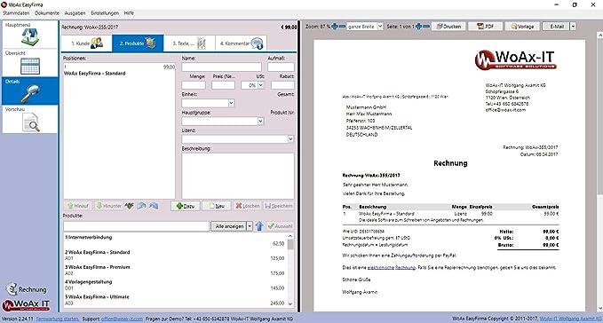 Easyfirma Basic Faktura Software Rechnungen Kundenverwaltung