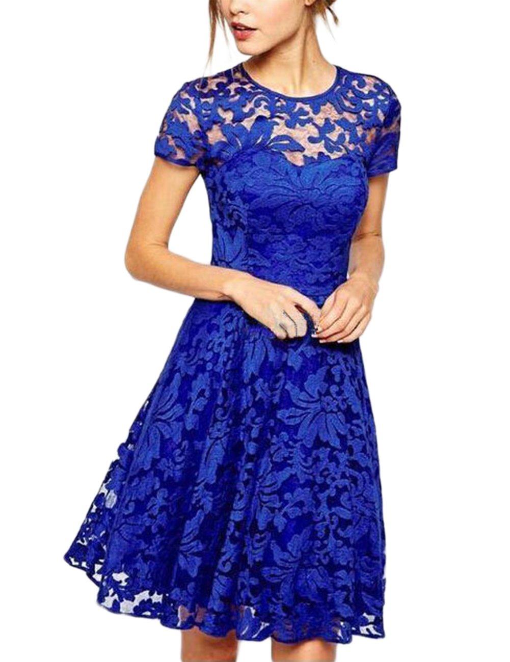 Zehui Vestido elegante con color azúl, estilo chino, de encaje ...