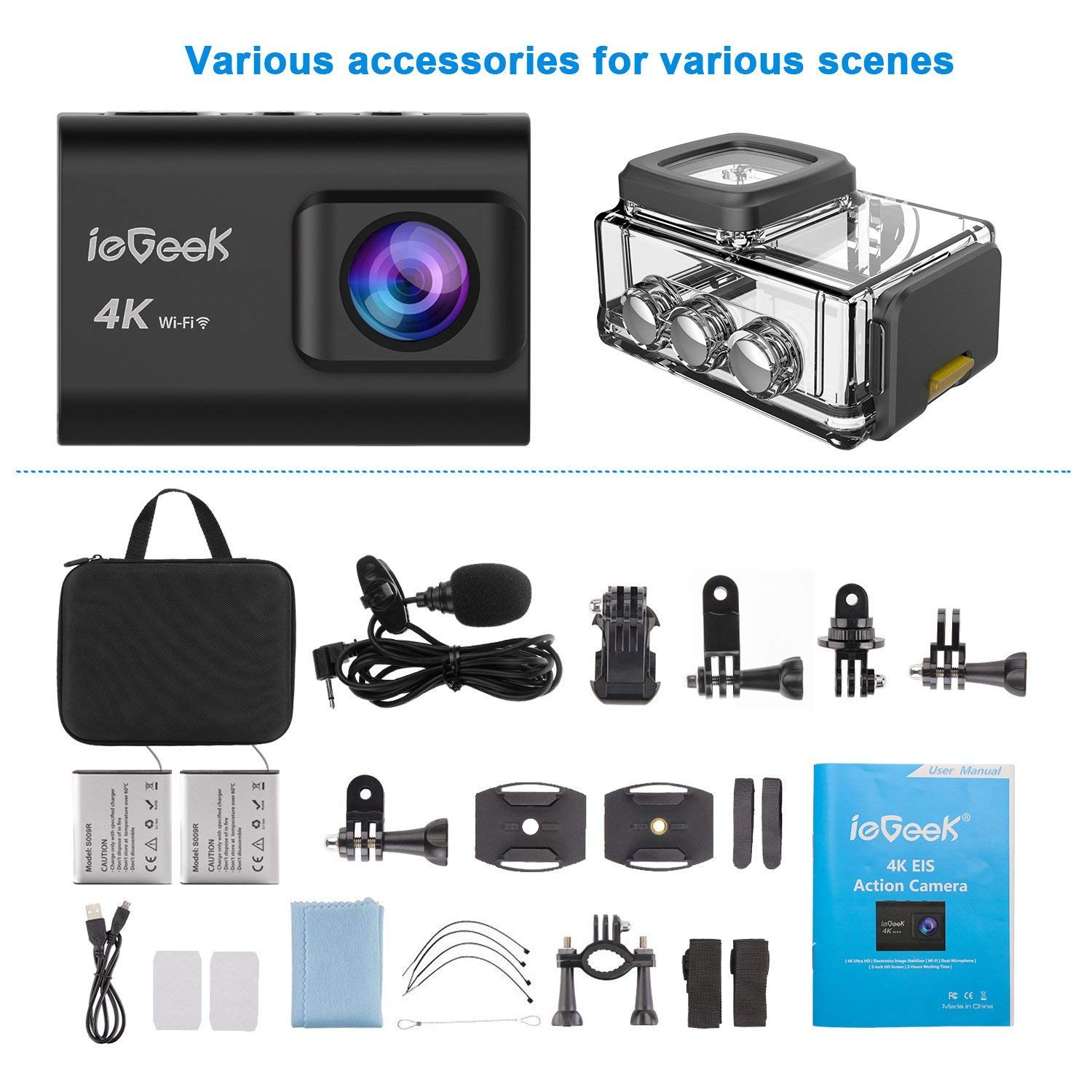 Action Camera, ieGeek 4K 20MP WiFi Waterproof Sports Cam Ultra HD Underwater Camera DV Camcorder EIS Image Stabilizer 170 Degree Wide-Angle with 2 Battery/External Microphone/Carry Case/Accessory Kit by ieGeek (Image #7)