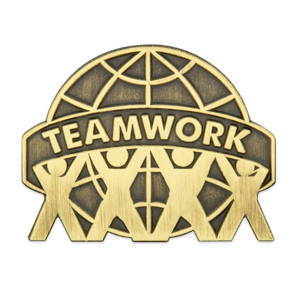 PinMart's Antique Bronze Teamwork Globe Lapel Pin