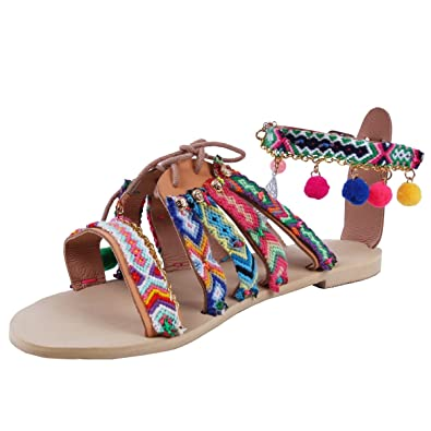 3806772130d Marlong Women Bohemian Summer Flat Sandals