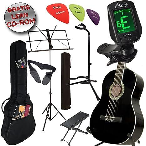 Original Ashley Set guitarra clásica color: Piano Black +, funda, afinador, Guitarra