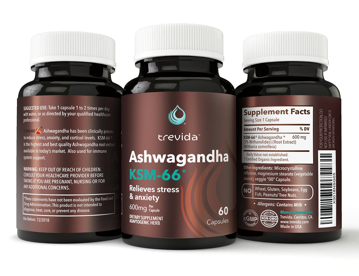 Trevida Organic Ashwagandha Extract KSM-66 - Formulated to Relieve Stress &  Anxiety - Highest Potency