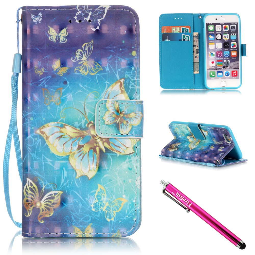 iPhone 5S Case, iPhone 5 Wallet Case, Firefish [Card Slots] [Kickstand] Flip Folio Wallet Case Synthetic Leather Shell Scratch Resistant Protective Cover for Apple iPhone 5/5S/SE-Butterfly