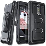 ZTE Grand X4 / Blade Spark Case, COVRWARE [Aegis Series] with Built-in [Screen Protector] Heavy Duty Full-Body Rugged Holster Armor Case [Belt Swivel Clip][Kickstand] - Black