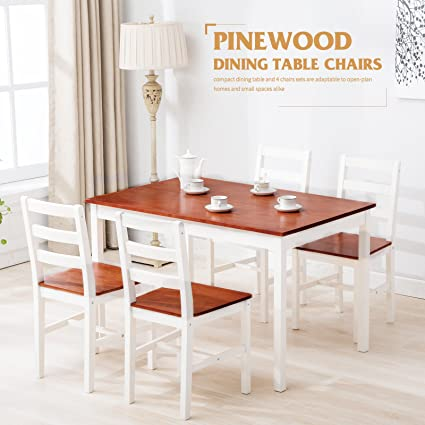 5 Piece Pine Wood Dining Table And
