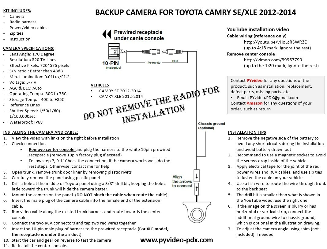 Amazon.com: PYvideo Toyota Camry SE and XLE Integrated Backup Camera Kit  (2012-2014) for Factory Radio (Color: Black): Cell Phones & Accessories
