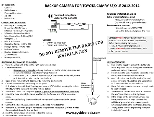 Amazon.com: PYvideo Toyota Camry SE and XLE Integrated Backup ...