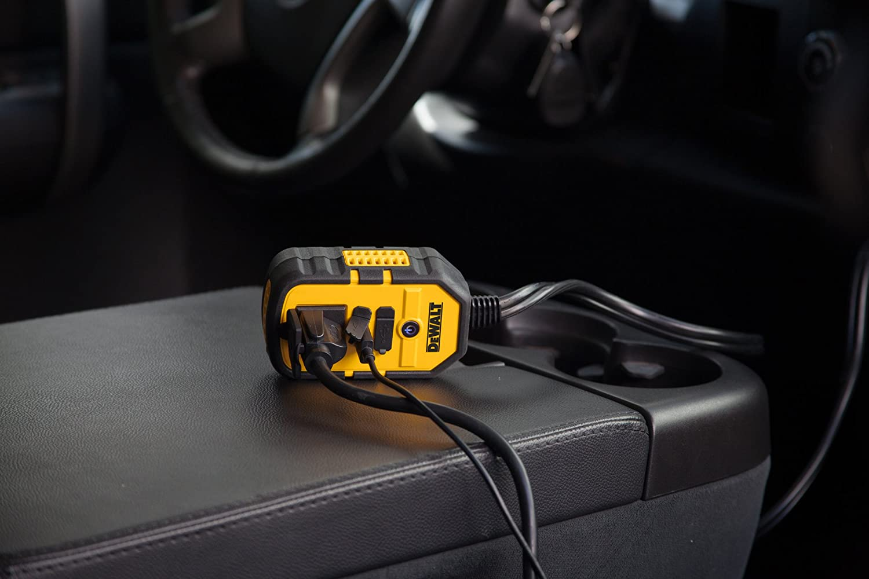 DEWALT DXAEPI140 Power Inverter 140W Car Converter 12V DC to 120V AC Power Outlet with Dual 3.1A USB Ports