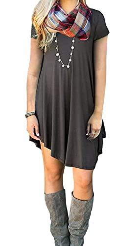 Angerella Women's Casual Tunic V-Neck Loose T Shirt Mini Dress