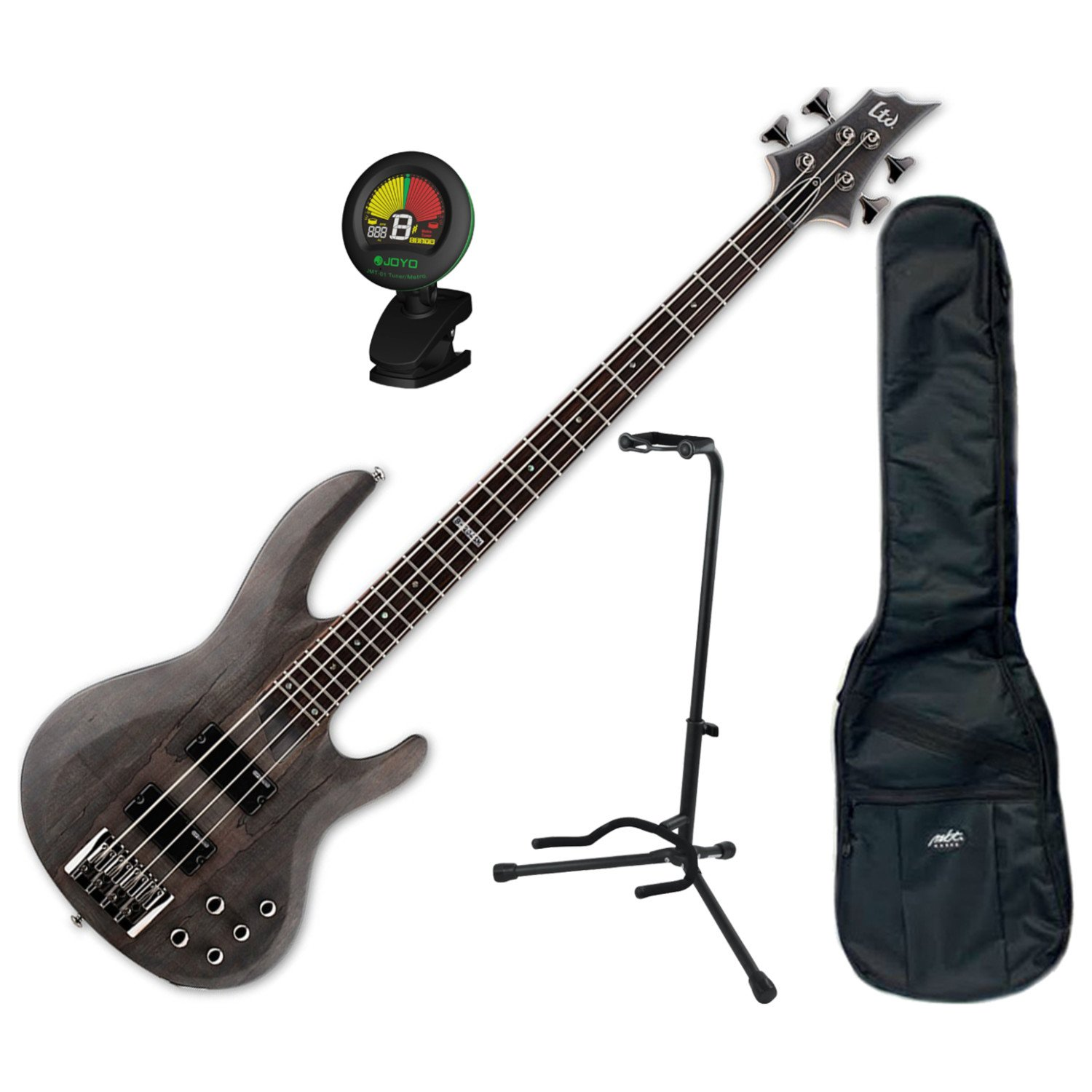 ESP LTD B-204 SM STBLKS 4 String Electric Bass w/ Gig Bag, Stand, and Tuner