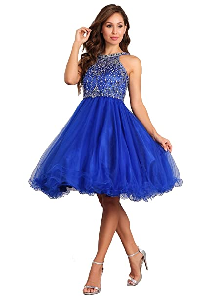 4e2dcb42e Cinderella Couture Big Girls Royal Blue Rhinestone Halter Neck Tulle Junior  Bridesmaid Dress 8