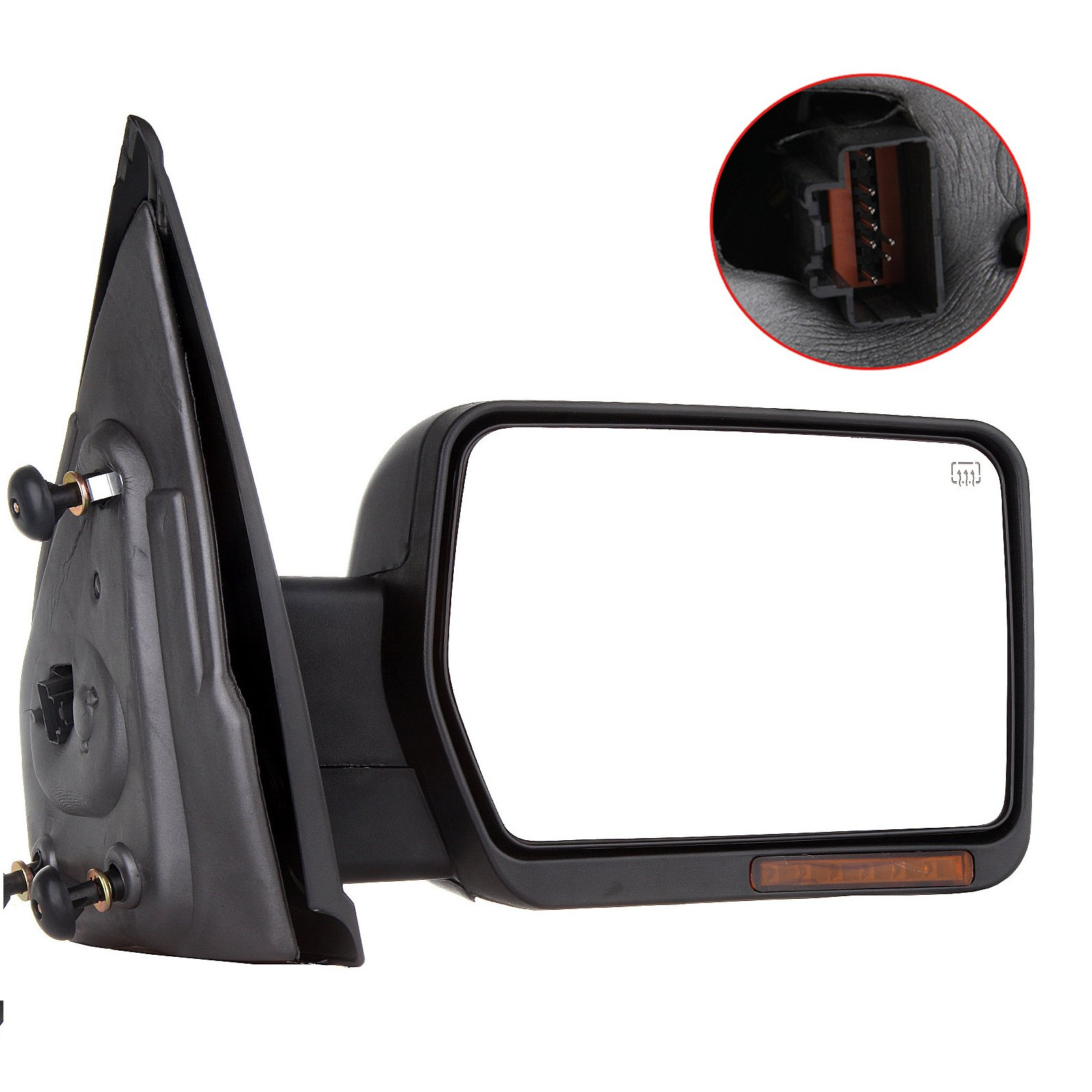 SCITOO Towing Mirrors, fit Ford Exterior Accessories Mirrors fit 2007-2014 Ford F-150 Truck with Amber Turn Signal and Puddle Light Heated Power Controlling and Manual Folding (Passenger Side)