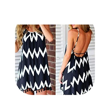 b0a9d6dc60 Image Unavailable. Image not available for. Color: mamamoo Women Casual Dress  Summer Beach Style Sexy Spaghetti Strap Backless ...
