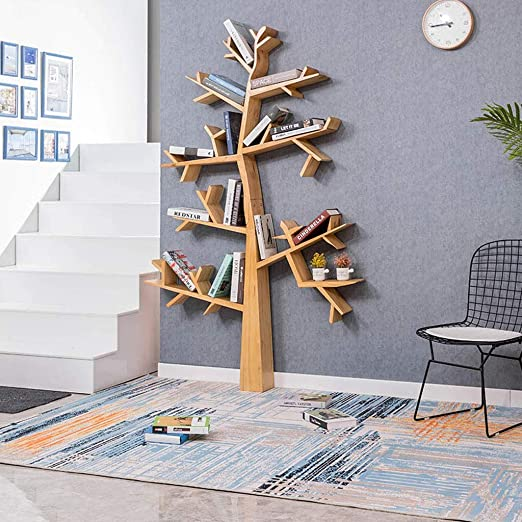 EIVD Estantería en Forma de árbol Estante de Madera Maciza de pie Marco Decorativo Salón Cafe Estantes para Libros Fondo Multifuncional Estantes flotantes (Tamaño : 110x16x160cm): Amazon.es: Hogar