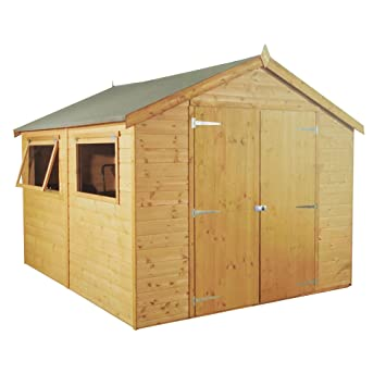Waltons Est 1878 10x8 Wooden Groundsman Garden Storage Shed Tongue Groove Construction Dip Treated With 10 Year Guarantee With Windows Wide