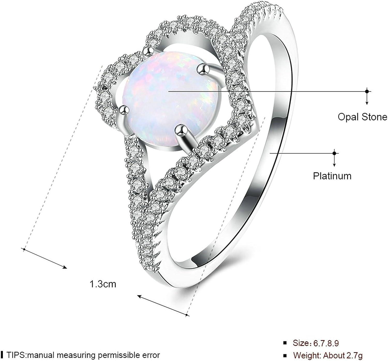 Epinki Fashion Jewellry Platinum Plated Womens Wedding Ring Irregular Shape Cubic Zirconia White Gold