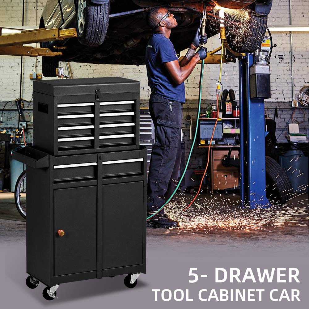 5-Drawer Tool Chest,Rolling Tool Organizer Large Tool Box with Push Handle Red Lockable 2 in 1 Detachable Tool Cabinet Removable Tool Storage Box
