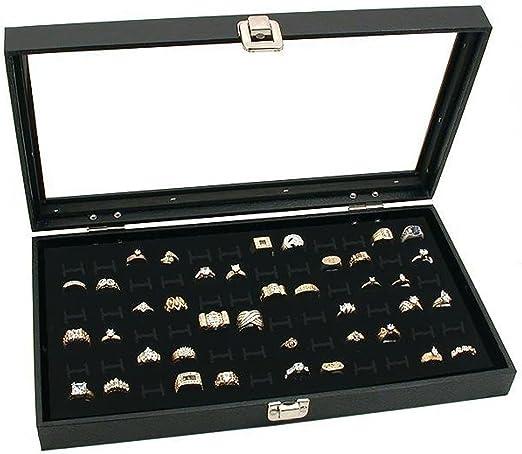 Size 20x14.5cm Black Leather Jewellery Retail Shops Display Ring Tray Organizer