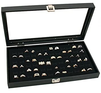 Amazoncom Novel Box Glass Top Black Jewelry Display Case 72 Slot
