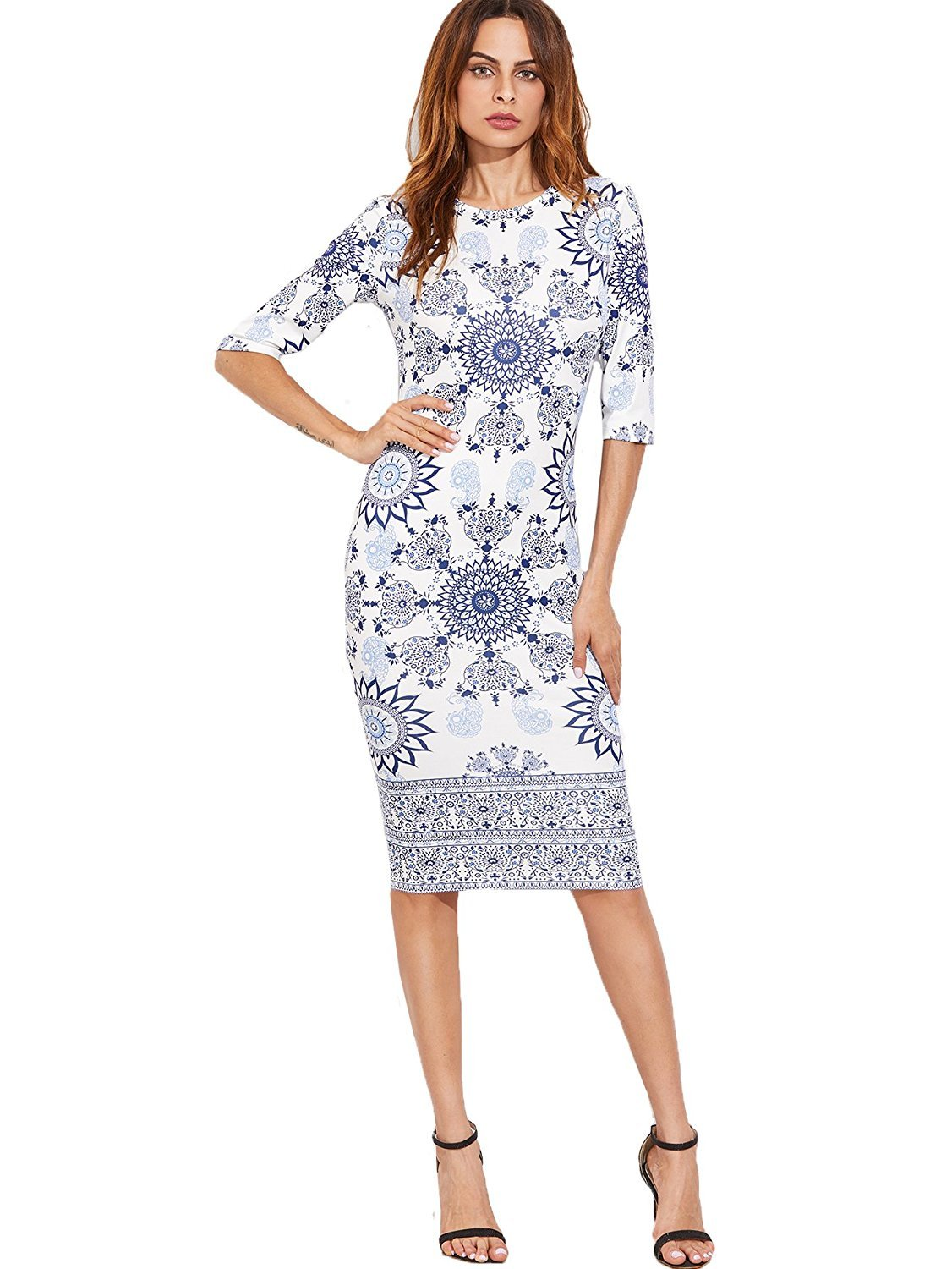 Floerns Women's Porcelain Print Work Sheath Business Pencil Dress Large White-Navy