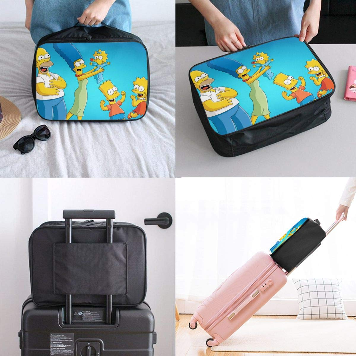 The Simps/_ons Customize Casual Portable Travel Bag Suitcase Storage Bag Luggage Packing Tote Bag Trolley Bag