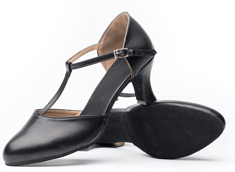 Joocare Women Black Leather T-Strap