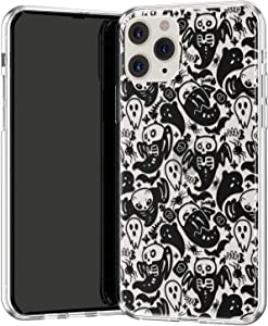 Lex Altern TPU Case Compatible with iPhone 12 Mini 11 Pro Max SE Xr Xs 8 Plus 7 6s TPU Bats Protective Cute Ghost Slim Gel Spooky Cats Silicone Skeleton Lightweight Halloween Cover Clear phh055