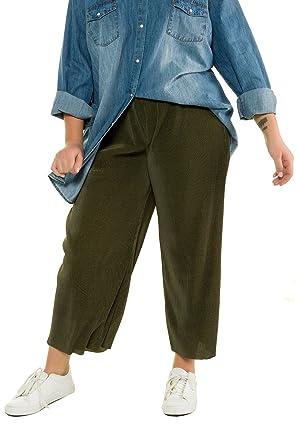 Studio Untold Damen große Größen Plissee-Culotte olivgrün 42 717199 40-42 f144ec6526